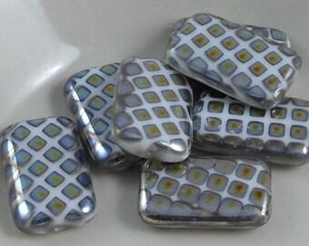 2 pcs Czech Glass Beads Large Flat Rectangle White With Marea Diamonds 19x12mm SRB-CP19x12-WA