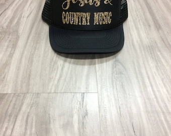 Jesus and Country Music Trucker Hat Country Concert Hat Country Trucker Hats Glitter Country Hats Country Girl
