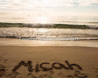 Name in Sand, Baby Boy Gift, Personalized Artwork, Beach, Nursery Decor - Micah