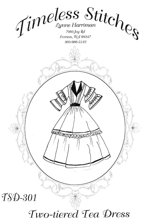 Victorian Sewing Patterns- Dress, Blouse, Hat, Coat, Mens Two-Tiered Tea Dress /Mid- 19th Century/ Civil War Era Dress Pattern/ Timeless Stitches Sewing Pattern TSD-301 $20.00 AT vintagedancer.com