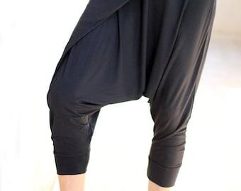 Wrap yoga sweatpants for women, Yoga Meditation wear, Yoga clothes, Black Stretchy harem pants,  loungewear, pregnancy and maternity wear
