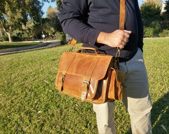 Distressed Leather Messenger Bag. Full Grain Leather Briefcase . 13 inch Laptop Bag. Handmade in Greece