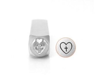 CROSS In HEART Metal Stamp, ImpressArt 6mm Religious Symbol, Christian Design Stamp, Metal Stamping Tool, Impress Art, Steel Stamp