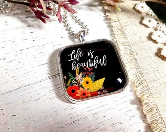 Large Square- Glass Bubble Pendant Necklace- Life Is Beautiful