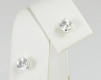 MothersDaySale Danburite 4mm .50ctw Sterling Silver Stud Earrings Natural Untreated