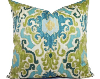 Two Pillow Covers - Blue Green Ikat Pillows - Blue Green Pillow Covers - Green Ikat Pillow - Blue Pillow Cover - Decorative Pillow Sham