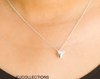 SALE... Crown Necklace, Sterling Silver Necklace, Cute, Tiny, Simple