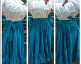 Vintage Electric Blue Peasant tiered full circle ruffled tail summer cotton strap skirt