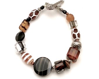 Animal Print  Black Brown Boho  Beaded  Sterling Silver Bracelet   Eclectic Clasp Bracelet for Her Under 140