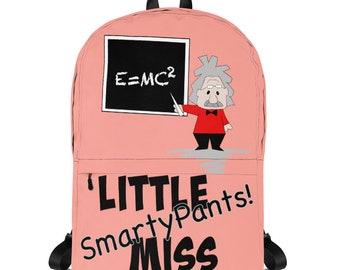 Cute Kids Backpack, Little Miss Smarty Pants School Backpack, Albert Einstein Bag, First Day of School, Custom Name Kids Backpack, Science