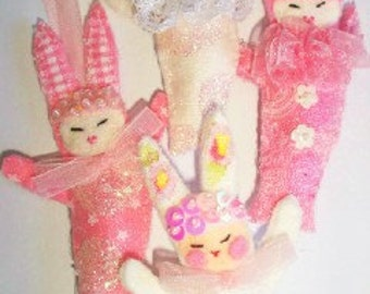 Four Little Bunnies great party favors, brooches, or ornaments,