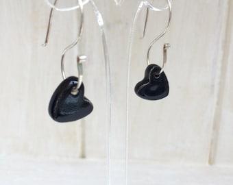 Black ceramic heart earrings on sterling silver dangle S shaped earwires