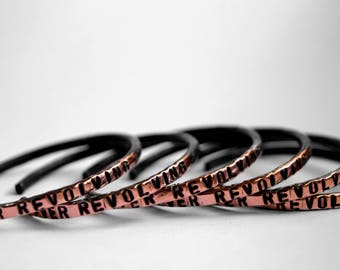 Ever Revolving - Limited Edition - Salvaged Copper - Copper Cuff - Recycled - Renew - Bangle Bracelet - Black Bracelet - Black Cuff - Unisex