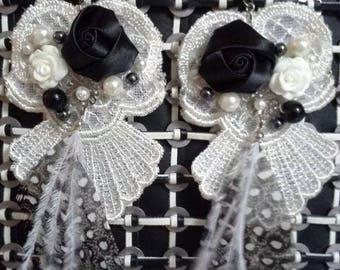 Black and White feather, lace, pearl earrings fancy formal