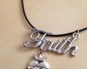 Faith Necklace with Crowned Heart Charm on a Black Leather Cord