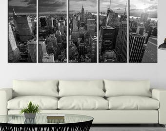 Extra Large Wall Art NEW YORK Canvas Prints - Black and White New York City Skyscrapers, Empire State Building in Middle, Canvas Gift
