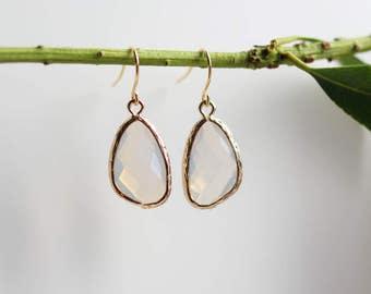 Moonstone Earrings - Gold Dangle Earrings - Stone Earrings - Drop Earrings - Birthstone Earrings - Opal Earrings - Moonstone Jewellery