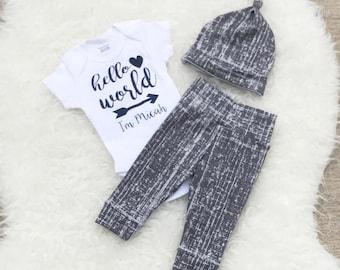 Hello World Newborn Outfit Boy, Hello World Baby, Newborn Boy Coming Home Outfit, Newborn Boy, Coming Home Outfit Baby Boy, Coming Home