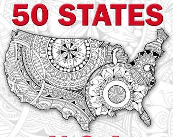 adult coloring book us maps all 50 states patriotic printable art zentangle adult coloring pages 4th of july printable america states