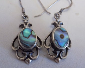 Vintage earrings, ornate sterling silver and abalone shell signed earrings, Mexican earrings