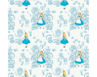 NEW from Camelot Fabrics, Disney's Alice in Wonderland in Blue, Yard