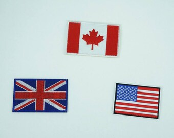 Canada UK America Flag Embroidered Iron On Applique Patch DIY