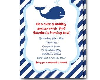Nautical Pool Party Invitation, Preppy Whale Invitation with Editable Text, Kids Nautical Whale Invitation, Edit Right Now, Templett