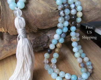 108 Bead Amazonite Mala Beads, 108 Mala Beads, Mala Necklace, Meditation Beads, Prayer Beads, Quartz, Japa Mala, Yoga Beads, Tassel Necklace