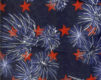 Fireworks with red stars 100% cotton fabric. Sold by the yard  #59