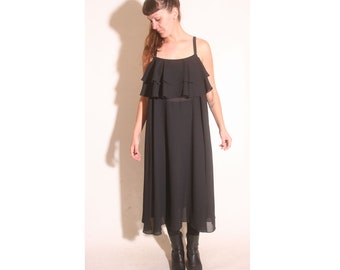 Vintage Vtg 1980s 80s Sheer Caron Tiered Ruffle Tent Dress size L