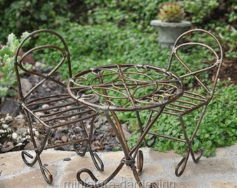 Mini Bistro Set, Rustic for Miniature Garden, Fairy Garden