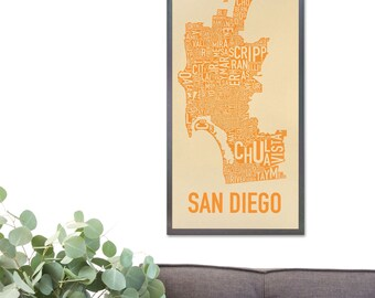 San Diego Neighborhood Map Poster or Print, Original Artist of Type City Neighborhood Map Designs, San Diego Typography Map Art