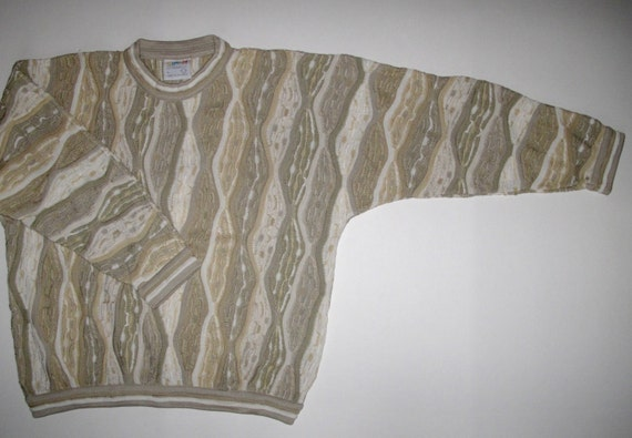 COOGI NEUTRALS Coogi L Multicolor Pattern Australia Stripe Geo Colorful Lg Cream L Lightweight Mens Excellent Condition Sweater COOGI gwqgzxYr