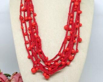 Red Orange Crochet Cotton Necklace, Crochet Necklace, Multi Strand Crochet Handmade Necklace , OOAK , Wearable Art Boho Jewellery