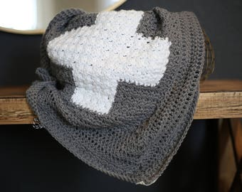 Crochet Baby Blanket Cross Design Charcoal Grey and White No.001