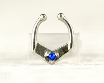 Fake Septum Ring Silver & Opal Nose Ring Jewelry Body Piercing Sterling Silver Indian Style - SE029SSSFKP