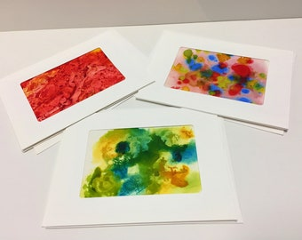 Alcohol ink painted greeting card abstract art Set of 3 Blank card with envelope collectible card unique one of a kind gift for her him