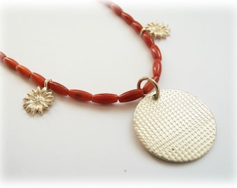 Candy cane necklace - coral beads sterling silver and poinsettias