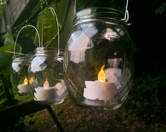 Upcycled Three Quilted Jar Lantern Candle Hanging Vase Outdoor Lighting Rustic Wedding Decor Ecofriendly Gift