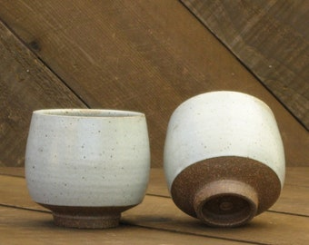Teabowl - Yunomi - Chawan - Ceramic Cup - Tea Bowl - White Cup - Handmade - Pottery Cup - Tumbler - Go Play Clay - Guiliotis - Ready to Ship