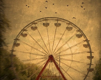 "Ferris Wheel Photo ""Dark Ride"" Black Birds, Carnival Art, Nature Photography, Fair Photo, Vintage Ferris Wheel Art Print, Sepia Wall Decor"
