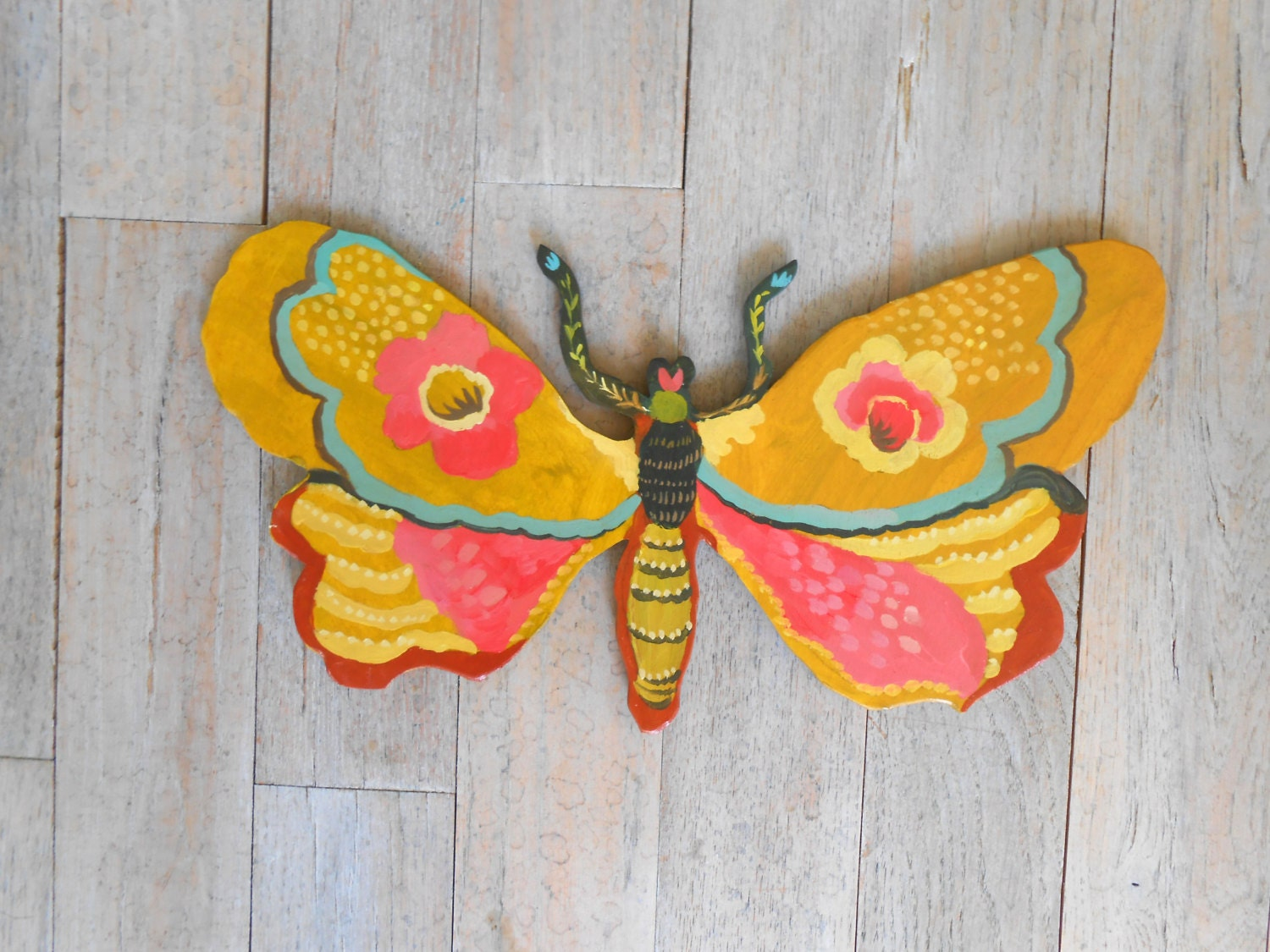 Joyful Moth Handpainted Wood Wall Sculpture by Kimberly Hodges ...