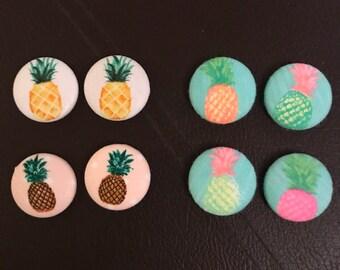 Pineapple Button Earrings