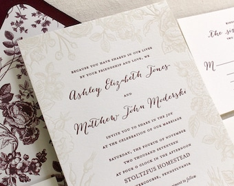 Letterpress Wedding Invitations Personal by DinglewoodDesign