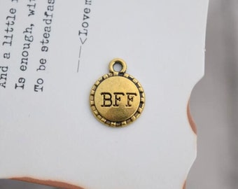 20 antique gold BFF charms best friend forever charm pendant pendants  (DAI)