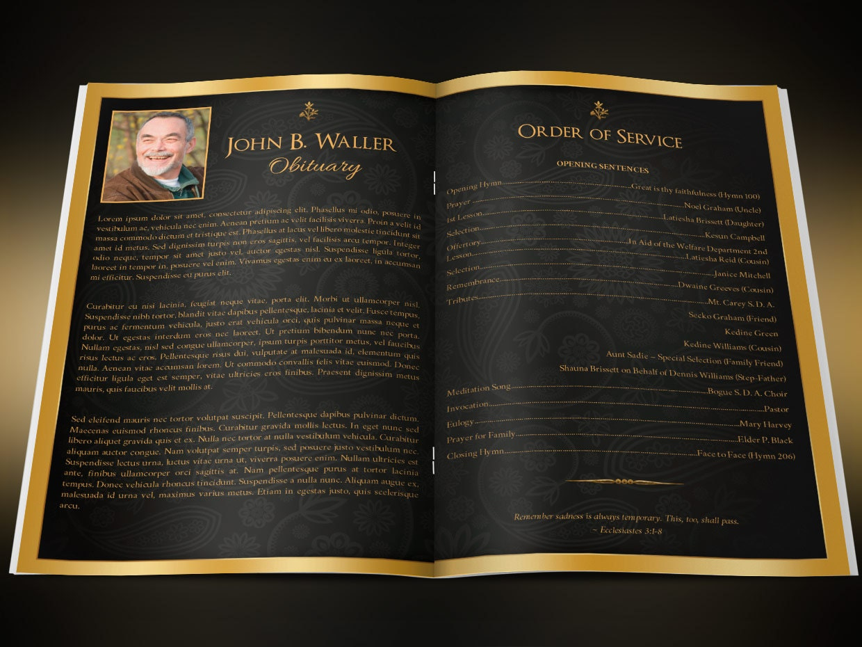 Black Gold Dignity Funeral Program Publisher Word Template from ...