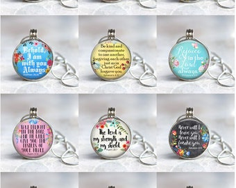 Christian Themed Magnetic Interchangeable Pendant - 12 Pack Starter Pack - Free Shipping - Bible Verses - Gift - Wedding - Religious - Faith