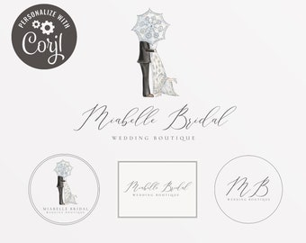 Wedding dress logo etsy editable wedding boutique branding kit wedding dress logo design bridal boutique branding bridal reheart Images