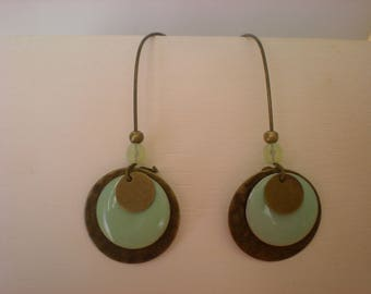 Earrings bronze and green sequins