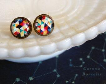 Winter Prism framed post earrings- cool colors- vintage inspired